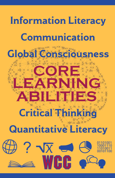 1 of 3 poster designs for the Whatcom Community College's 5 Core Learning Abilities. The poster has a golden yellow background with a celestial image of a brain faded into the background. It lists the 5 abilities in rows from top to bottom. There are blue icons at the bottom such as a globe, equation, pie chart, book, and people talking.