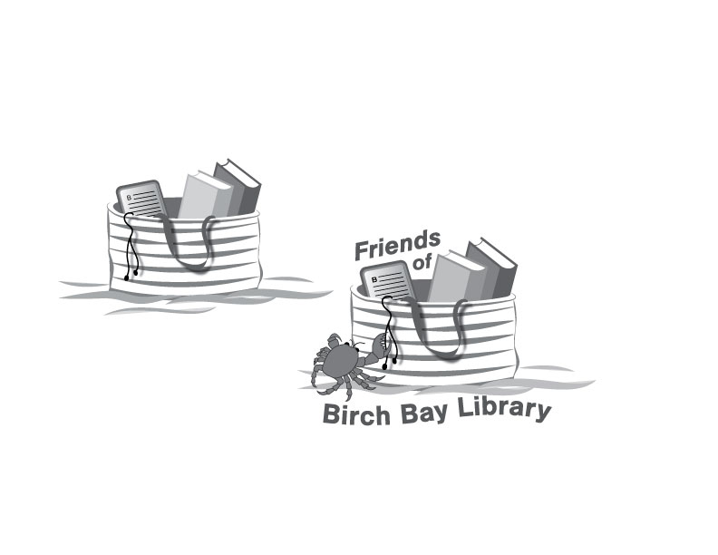 A black and white version of the Friends of Birch Bay Logos. It features a striped beach bag on the sand with 2 books and an e-reader. Ear buds dangle over the edge of the bag.
