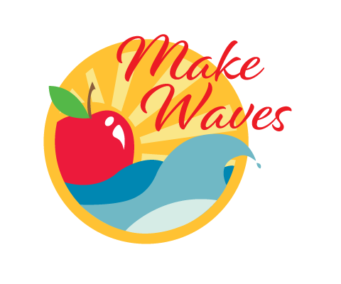 Logo design for the 2018 WA State Food Coalition Conference. It features a large red apple bobbing on waves with sun rays extending from behind the apple.