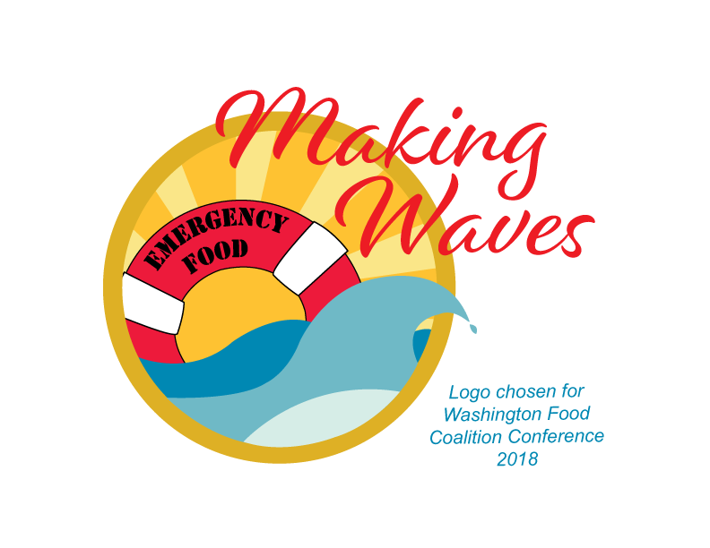 Logo featured in the 2018 Washington Food Coalition Conference. The theme is Making Waves. The image is of waves with a life preserver floating on the surface which says Emergency Food with a setting sun in the background.