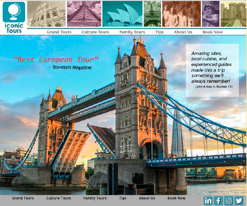Homepage image for Iconic Tours website. Features a large photo of the Tower Bridge in London, with smaller world sites across the top including the Roman Colosseum, Machu Pichu, the Sydney Opera House, the Eiffel Tower, the Clay Army, the Statue of David, and Bodiun Castle.
