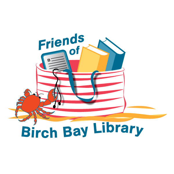Logo for Friends of Birch Bay Library. It features a red and white striped beach bag with 2 books and an e-reader. Ear buds dangle over the edge of the bag and a crab is reaching up to grab it with one claw.