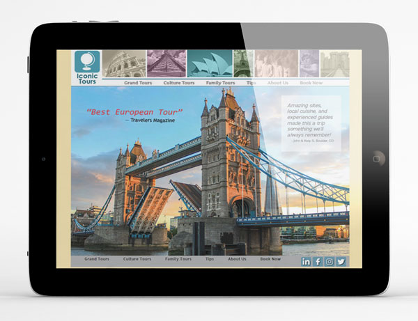 iPad displaying the homepage image for Iconic Tours website. Features a large photo of the Tower Bridge in London, with smaller world sites across the top including the Roman Colosseum, Machu Pichu, the Sydney Opera House, the Eiffel Tower, the Clay Army, the Statue of David, and Bodiun Castle.