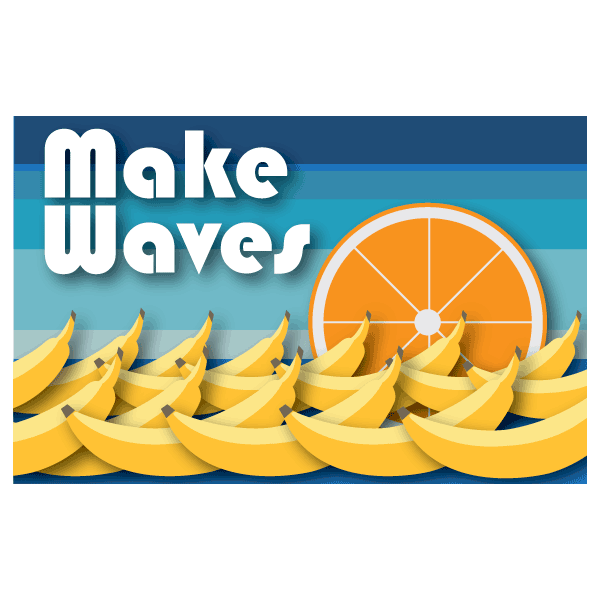 Alternative logo design for the 2018 WA State Food Coalition conference. It features bananas arranged like waves with the cross-section of an orange as the setting sun.