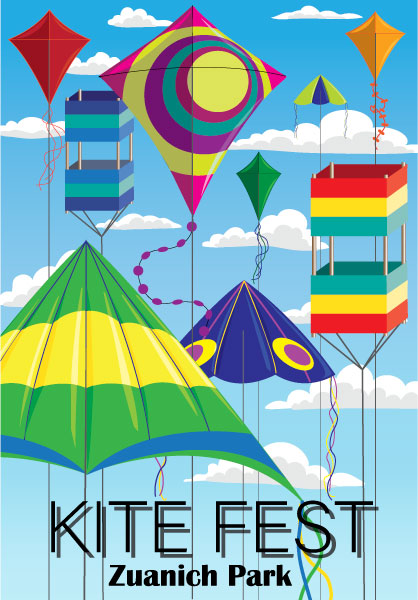 Poster advertising a kite festival at Zuanich Park. It features a variety of colorful kites of different styles displayed against a blue sky with clouds.