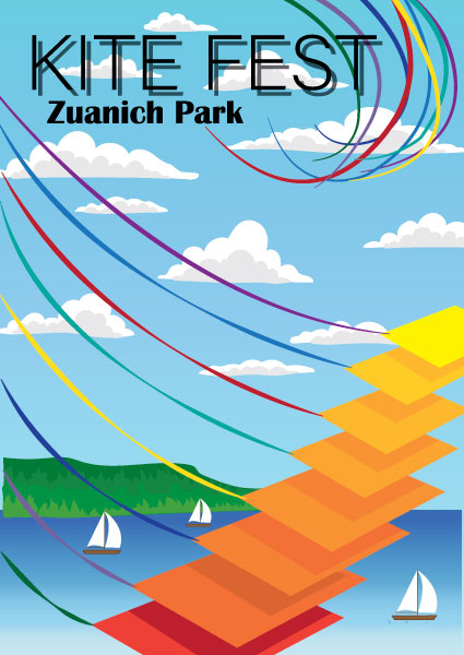 Second poster advertising a kite festival at Zuanich Park. It features 8 diamond shaped kites ranging from yellow to red with colorful ribbon tales swooping downward in formation. A bay with sailboats and green island is in the background with a blue sky and clouds.