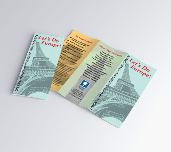 Exterior view of tri-fold brochure advertising a tour called Let's Do Europe. The front flap features the Eiffel Tower, other tour packages offered by the company are on the back page, and a description of what is included in the tour fees is on the inside flap.