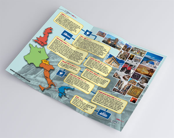 Interior spread of a tri-fold brochure advertising a European tour. It features a large photo of the roman colloseum in the background, a map of the UK, France, Switzerland, Italy, and Greece, a variety of photos from those locations, and the entire 22-day travel itinerary.