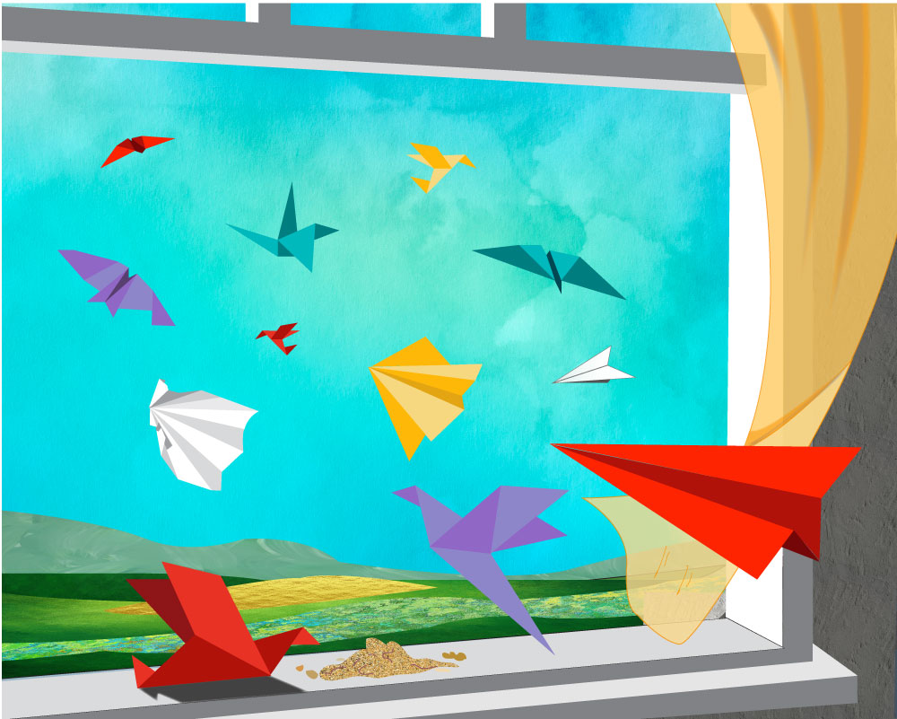 Illustration of a paper airplane being thrown out a window with other paper airplanes unfolding and refolding as origami birds. The birds come back to the window sill to eat bird food. This is the artwork after which Fly Paper Graphics was named.