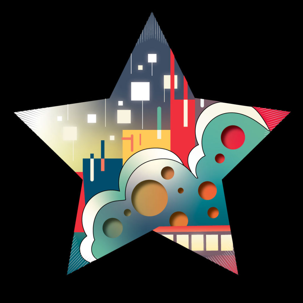 Colorful star shape filled with illustrated city buildings rising up from the clouds.