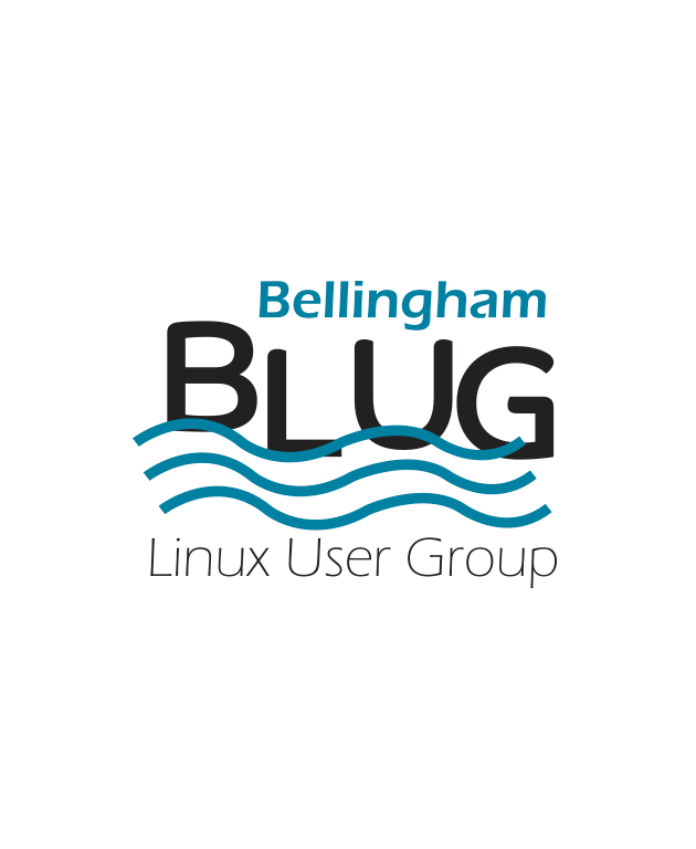 The letters BLUG floating on stylized waves. The word Bellingham above, and the words Linux User Group below.