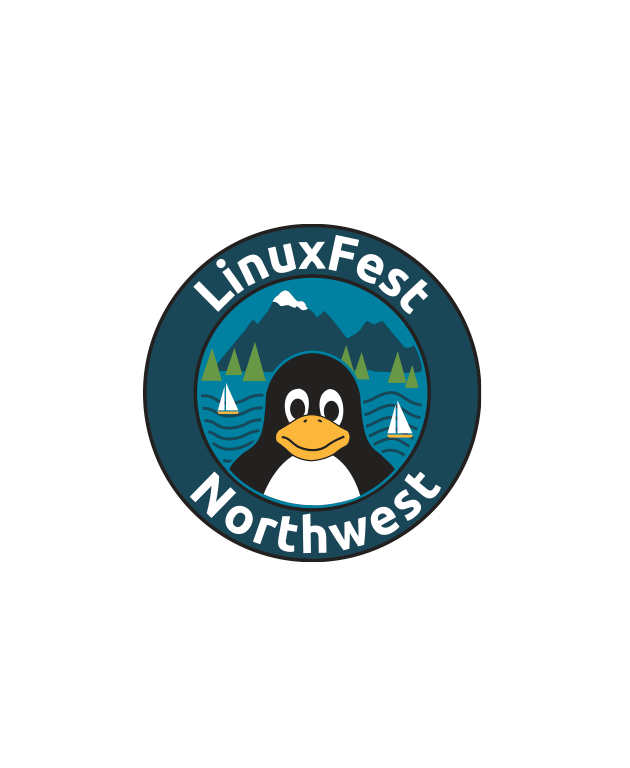 Circle with penguin, Tux, in the center and a background of mountains, water trees and sailboats. LinuxFest Northwest appears around the circle.