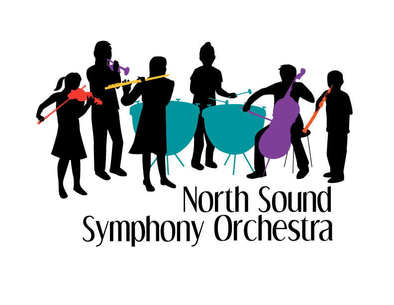 Six children in silhouette each playing a different, brightly colored symphony instrument.