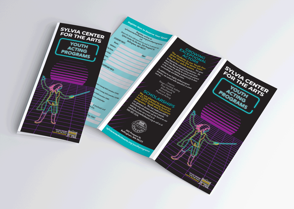 Brochure for the Youth Acting Programs at the Sylvia Center for the Arts. Design is 80's retro with neon on a black background.