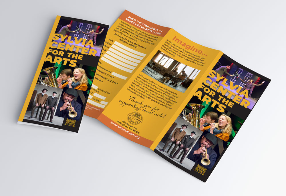 External view of brochure highlighting Sylvia Center for the Arts.