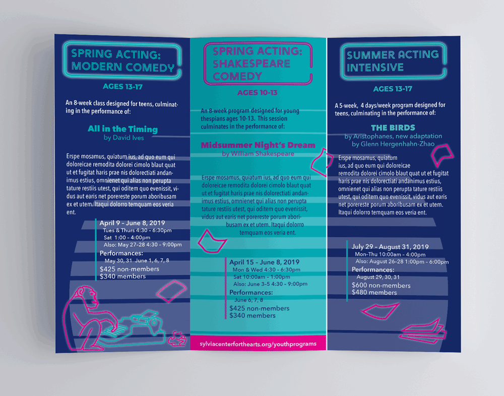 Interior view of a tri-fold brochure advertising youth acting programs at the Sylvia Center