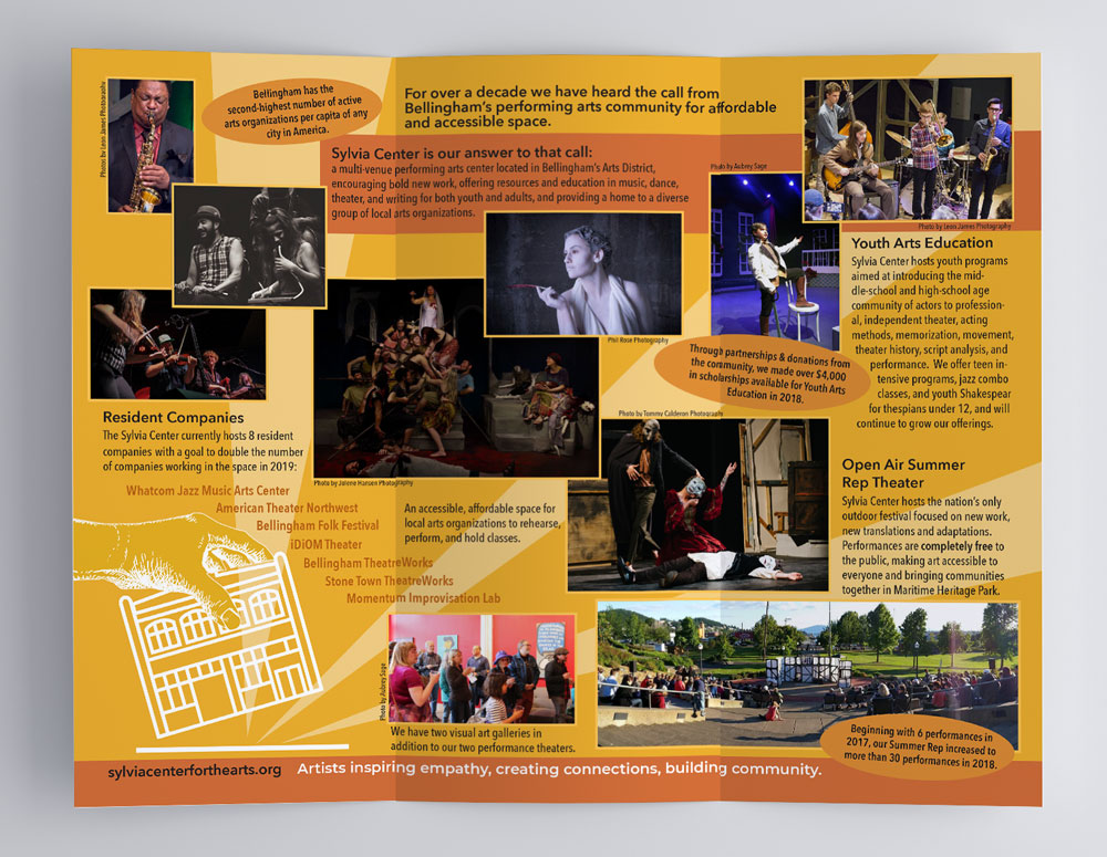 Interior view of a tri-fold brochure highlighting Sylvia Center for the Arts