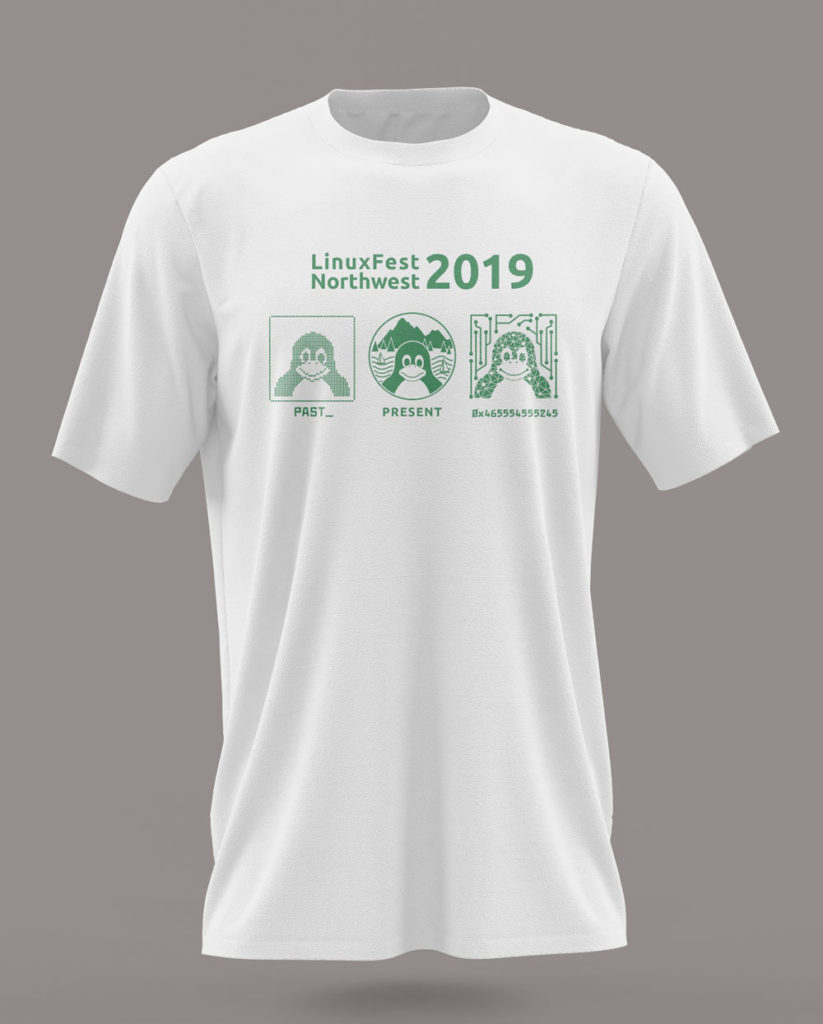 "T-shirt printed with text ""LinuxFest Northwest 2019"", with three images of Tux the penguin to represent past, present, and future."