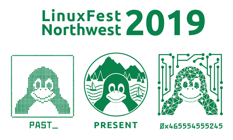 LinuxFest Northwest 2019. Images of three penguins labeled past, present and future.