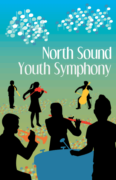 North Sound Youth Symphony poster with 6 children in silhouette playing brightly colored symphony instruments.