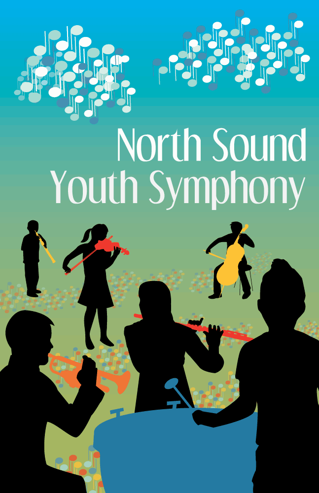North Sound Youth Symphony poster with 6 silhouetted children playing bright colored symphony instruments.