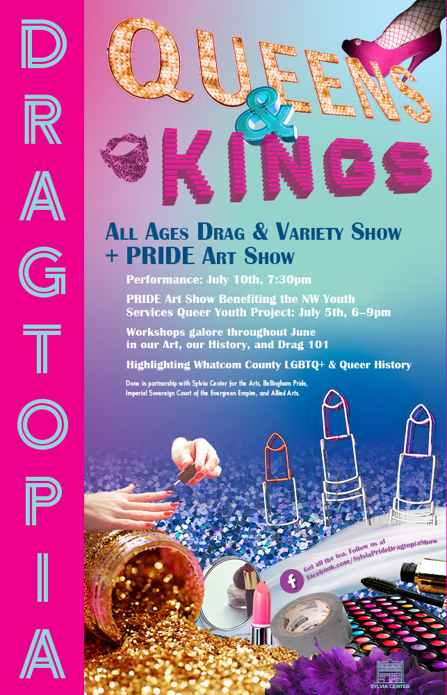 Poster advertising Dragtopia, an all-ages drag and variety show. The poster is pink, blue and purple, with glitter and cosmetic items.